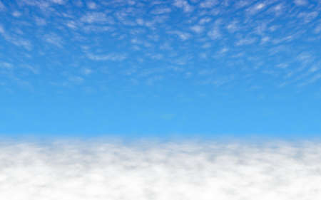 Blue sky background with white clouds. Cumulus white clouds in the clear blue sky in the morning. 3D illustration Stok Fotoğraf