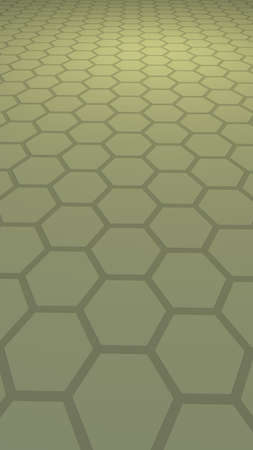 Honeycomb with color lighting, on a gray background. Perspective view on polygon look like honeycomb. Isometric geometry. Vertical image orientation. 3D illustration Imagens