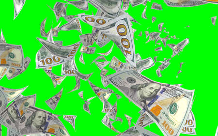 Flying dollars banknotes isolated on chromakey. Money is flying in the air. 100 US banknotes new sample. 3D illustration