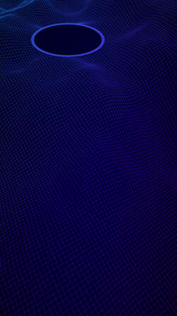 Abstract landscape on a blue background. Cyberspace grid. Mockup. hi tech network, technology. Vertical image orientation. 3D illustration