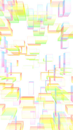 Colorful abstract digital and technology background. The pattern with repeating rectangles. 3D illustration Imagens