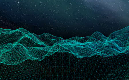 Abstract landscape on a dark background. Cyberspace grid. hi tech network. Outer space. Starry outer space texture. 3D illustration Stok Fotoğraf