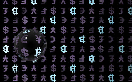 Bitcoin and currency on a dark background. Digital crypto symbol. Currency bubble, wave effect, market fluctuations. Business concept. 3D illustration Stok Fotoğraf