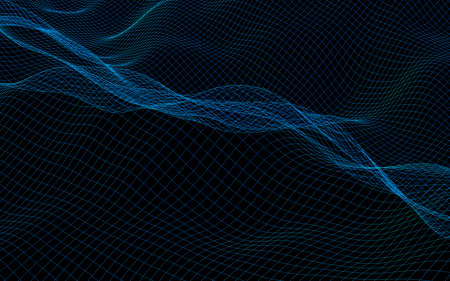 Abstract landscape on a dark background. Cyberspace navy blue grid. hi tech network. 3D illustration