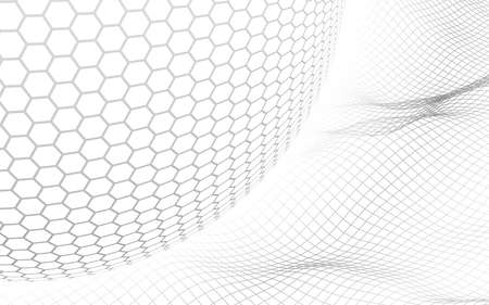 Abstract landscape on a white background with white honeycomb sphere. Cyberspace grid. hi tech network. 3d illustration
