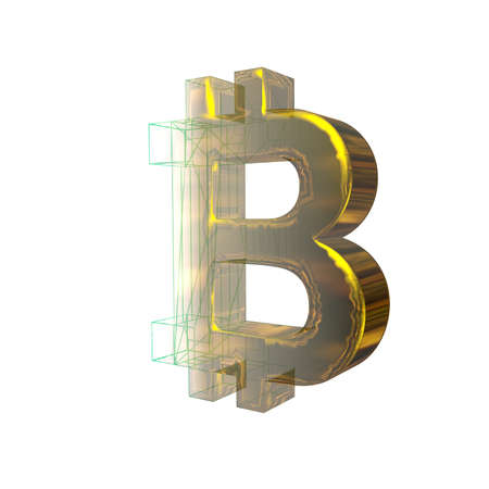 Bitcoin sign, the green grid turns into gold on white background. 3D illustration Stok Fotoğraf