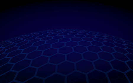 Multilayer sphere of honeycombs, blue on a dark background, social network, computer network, technology, global network. 3D illustration