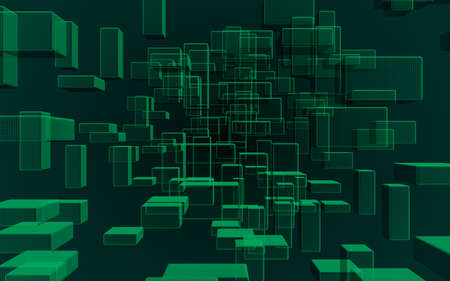 Green and dark abstract digital and technology background. The pattern with repeating rectangles. 3D illustration