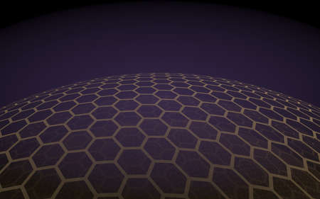 Multilayer sphere of honeycombs, purple on a dark background, social network, computer network, technology, global network. 3D illustration