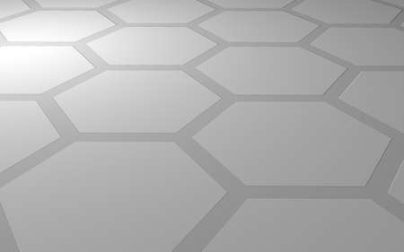 Honeycomb on a gray background. Perspective view on polygon look like honeycomb. Extruded, bump cell. Isometric geometry. 3D illustration