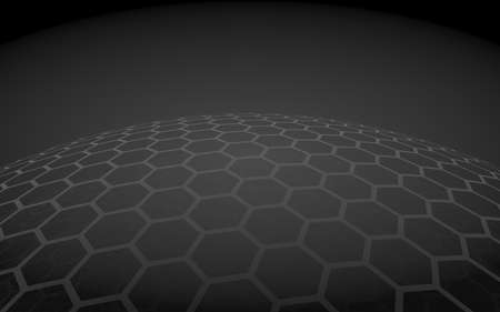 Multilayer sphere of honeycombs, gray on a dark background, social network, computer network, technology, global network. 3D illustration Imagens