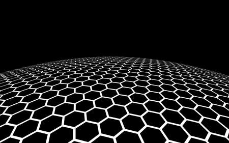 Dark honeycomb on dark background. Perspective view on polygon look like honeycomb. Ball, planet, covered with a network, honeycombs, cells. 3D illustration