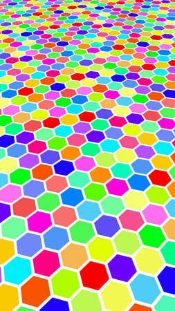 Honeycomb multi-colored. Perspective view on polygon look like honeycomb. Isometric geometry. 3D illustration Imagens
