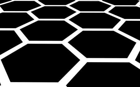 White honeycomb on a black background. Perspective view on polygon look like honeycomb. Isometric geometry. 3D illustration