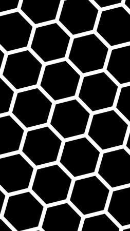 White honeycomb on a black background. Vertical image orientation. Isometric geometry. 3D illustration Imagens