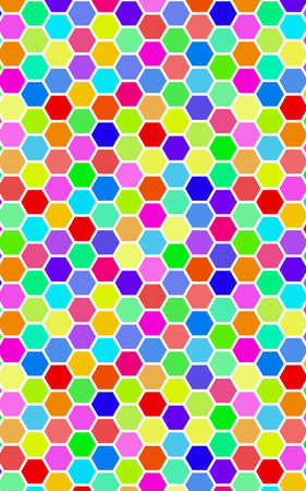 Honeycomb many color, multicolored. Isometric geometry. 3D illustration Imagens