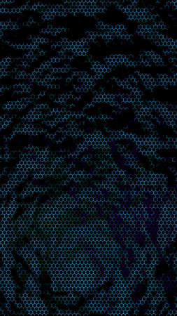 Honeycomb on a blue green background. Perspective view on polygon look like honeycomb. Isometric geometry. 3D illustration