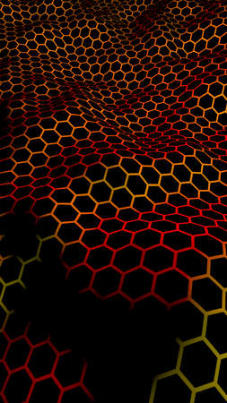 Honeycomb wave effect on a red yellow background. Perspective view on polygon look like honeycomb. Isometric geometry. Vertical image orientation. 3D illustration
