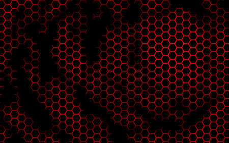 Honeycomb on a red background. Perspective view on polygon look like honeycomb. Isometric geometry. 3D illustration Imagens