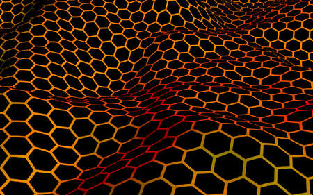 Honeycomb wave effect on a red yellow background. Perspective view on polygon look like honeycomb. Isometric geometry. 3D illustration Imagens