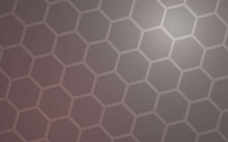 Honeycomb with color lighting, on a gray background. Perspective view on polygon look like honeycomb. Isometric geometry. 3D illustration Imagens
