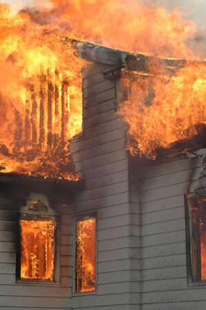 house fire: Fire Safety Stock Photo