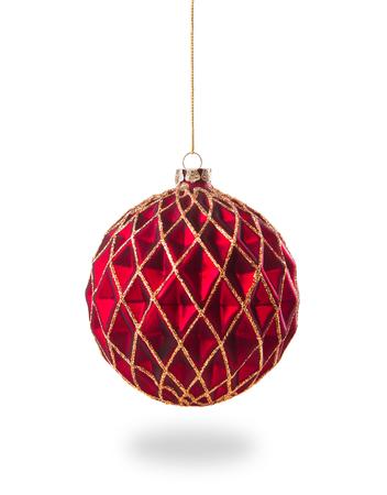 白い背景で隔離赤いクリスマス ボール 写真素材 - 48408650