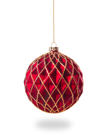 red christmas ball isolated on a white background 스톡 콘텐츠