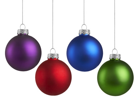 hanging on: Christmas Holiday Balls isolated on a white background Stock Photo