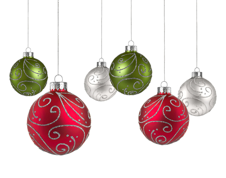 Christmas balls with copy space isolated on a white background Stock Photo