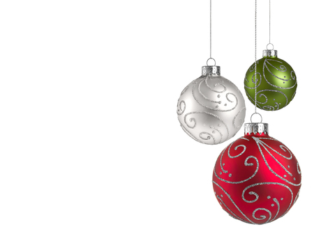 Christmas baubles with copy space on a white background 