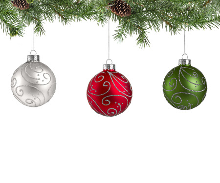 Christmas pine tree with decoration balls isolated on a white background