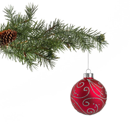 red christmas ball: Christmas tree branch with a red decoration ball Stock Photo