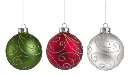Christmas Ornaments isolated on a white background Archivio Fotografico