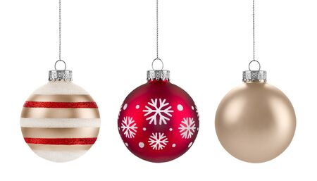 red snowflake background: Christmas baubles Group isolated on a white background