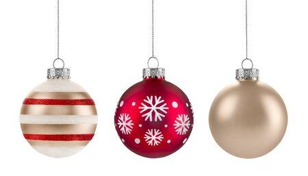 Kerstballen groep geïsoleerd op een witte achtergrond Stockfoto