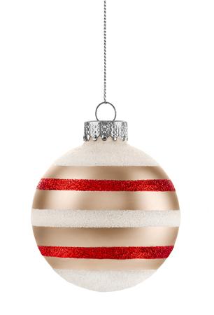 白地に金赤と白のクリスマス ボール