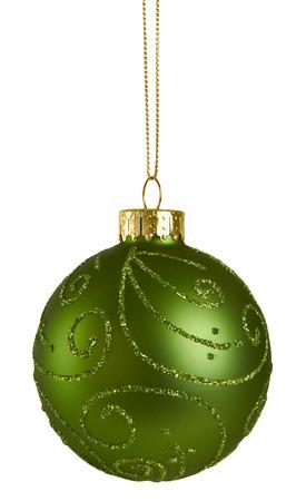 緑のクリスマス ボール 写真素材