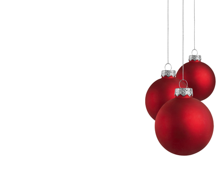 christmas baubles: Christmas baubles with copy space on a white background Stock Photo