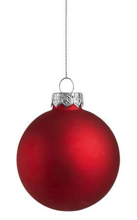 pelota: Bola de Navidad roja sobre un fondo blanco