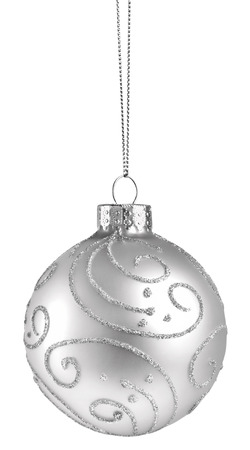 hanging on: White Christmas Ball isolated on a white background Stock Photo
