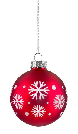 Red snowflake christmas ball hanging on string, isolated on white