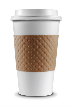 taza: Taza de caf� aislado en un fondo blanco