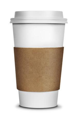 filiżanka kawy: Aby przejść filiżanka kawy na białym tle