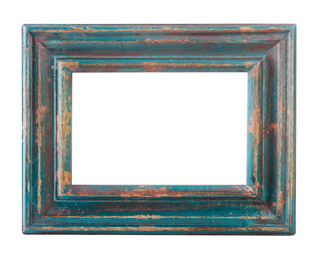 empty old wood painted frame isolated on a white background?