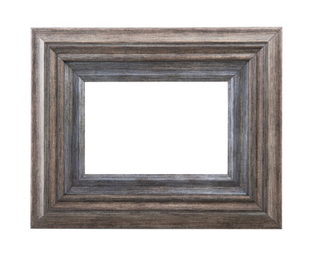 白い背景に分離した木製フレーム 写真素材