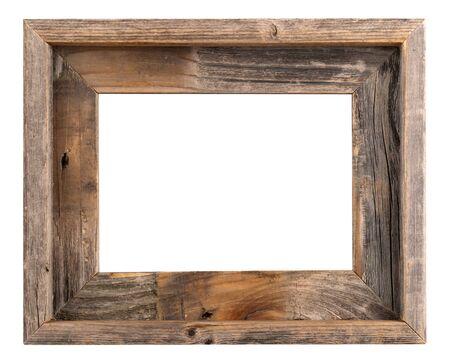 白い背景に分離された空の古い木造ですか。 写真素材
