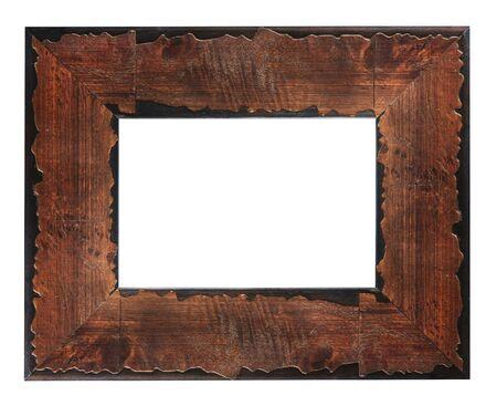 白い背景に分離された古い木製額縁