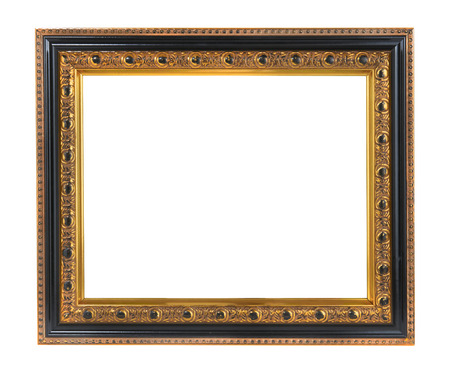 白い背景で隔離の金装飾額縁 写真素材