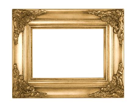 白い背景に分離されたゴールド額縁